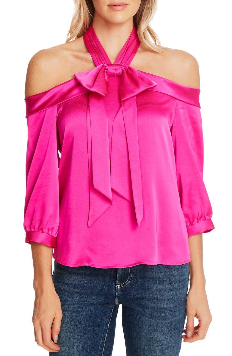 CECE Halter Neck Cold Shoulder Blouse, Main, color, GARDEN ROSE