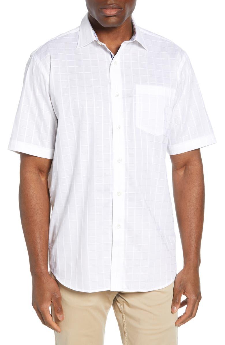 BUGATCHI Windowpane Woven Shirt, Main, color, WHITE
