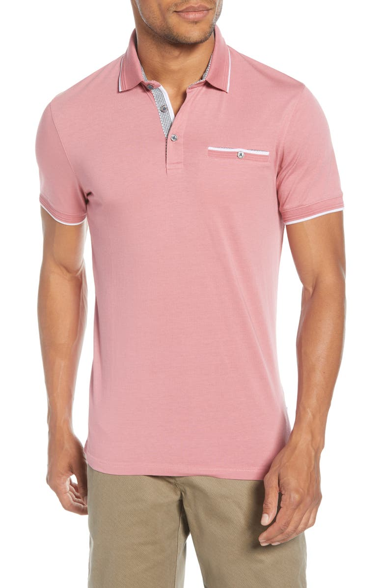 TED BAKER LONDON Derry Slim Fit Polo, Main, color, MEDIUM PINK