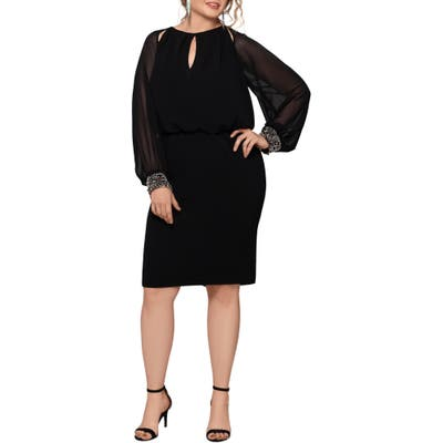 Plus Size Xscape Rhinestone Cuff Long Sleeve Cocktail Dress, Black