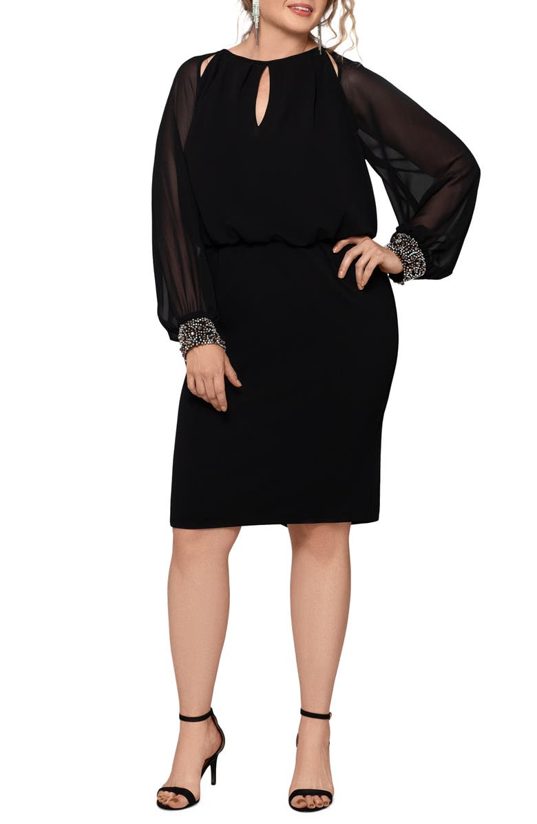 XSCAPE Long Sleeve Scuba Crepe Cocktail Dress, Main, color, BLACK/ SILVER