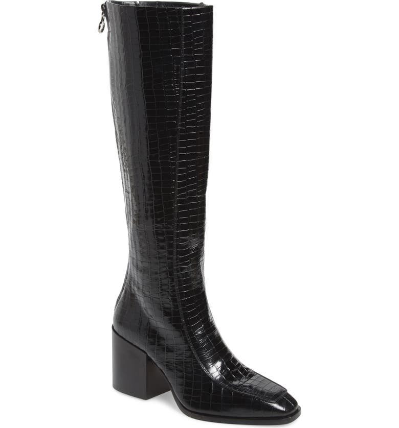AEYDE Charlie Knee High Boot, Main, color, BLACK