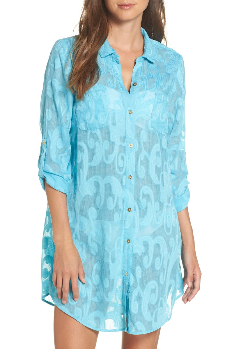 LILLY PULITZER<SUP>®</SUP> Natalie Shirtdress Cover-Up, Main, color, 424
