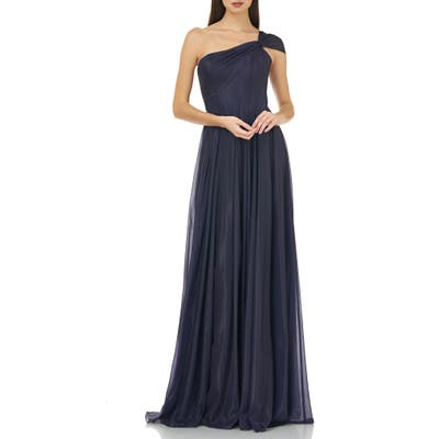 Carmen Marc Valvo Infusion One-Shoulder Pleated Gown, Purple