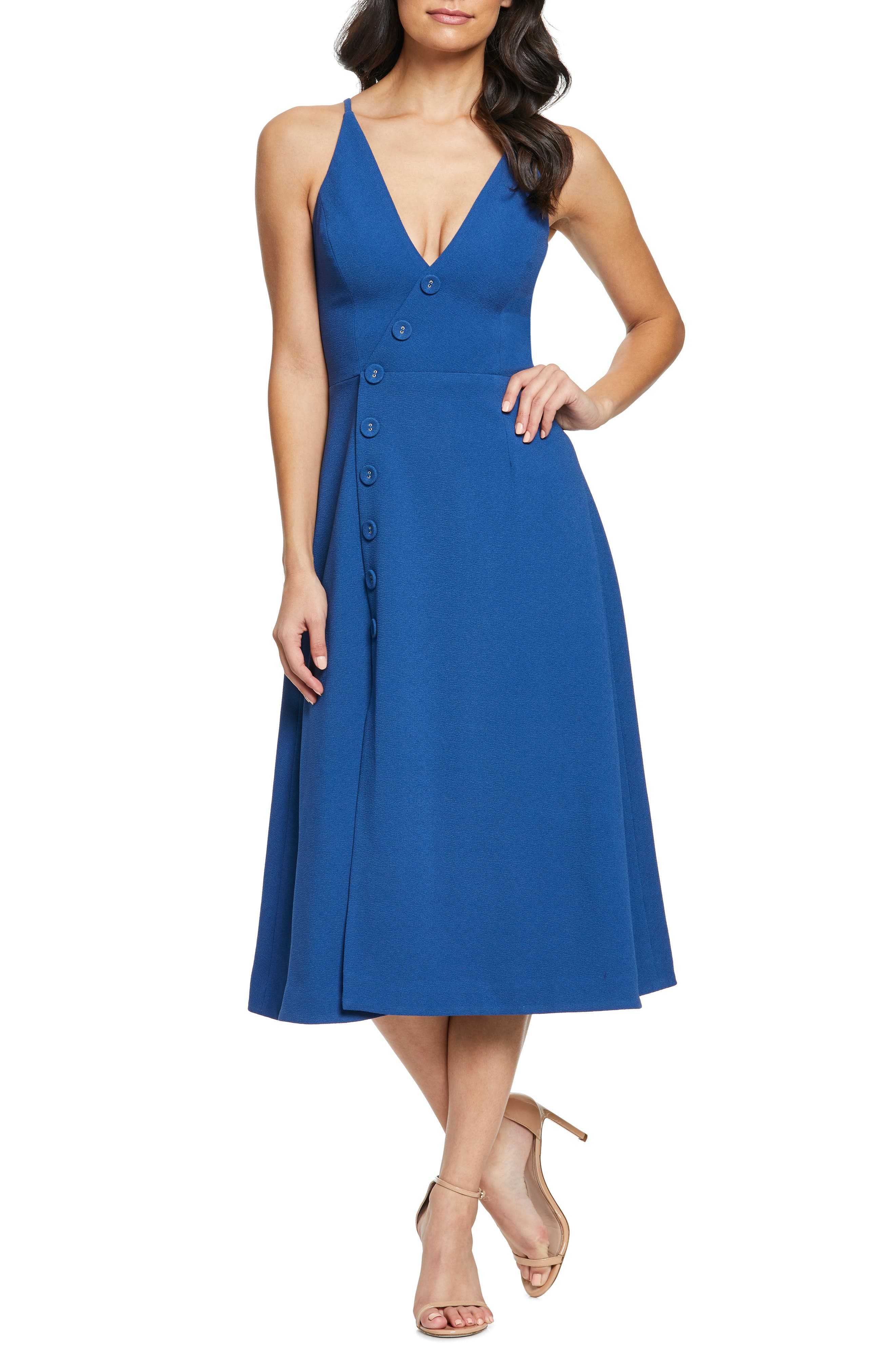 Image of Dress the Population Emily Asymmetrical Front Button Cocktail Dress