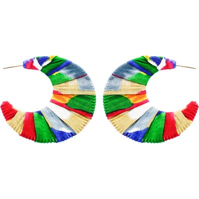 Panacea Fabric Covered Crescent Earrings