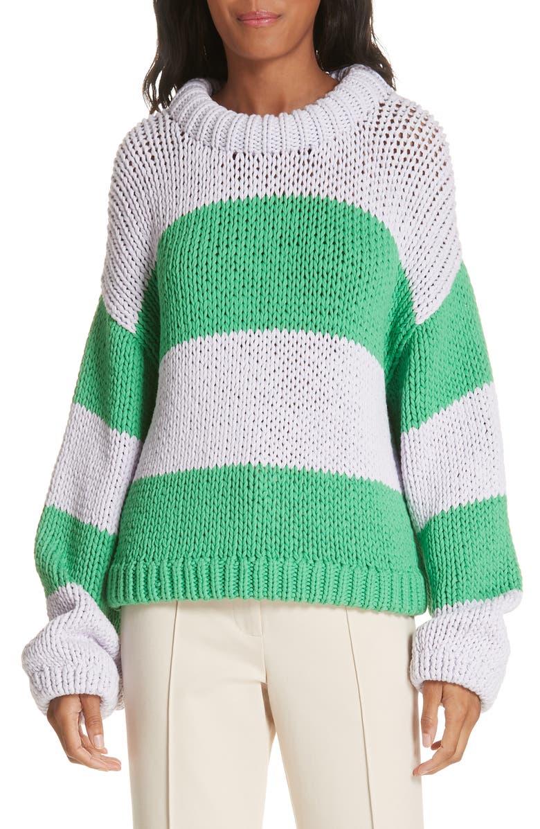 TIBI Tube Yarn Stripe Sweater, Main, color, LAVENDER/ GREEN MULTI