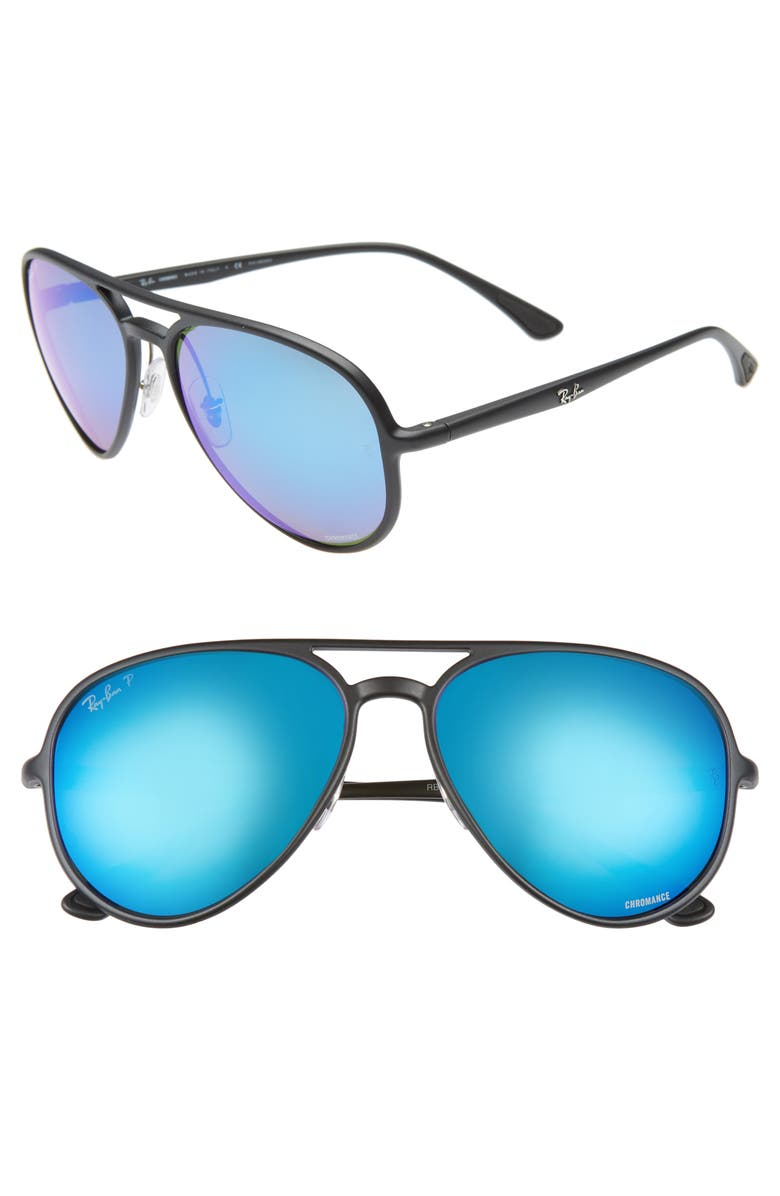 RAY-BAN 58mm Polarized Aviator Sunglasses, Main, color, MATTE BLACK