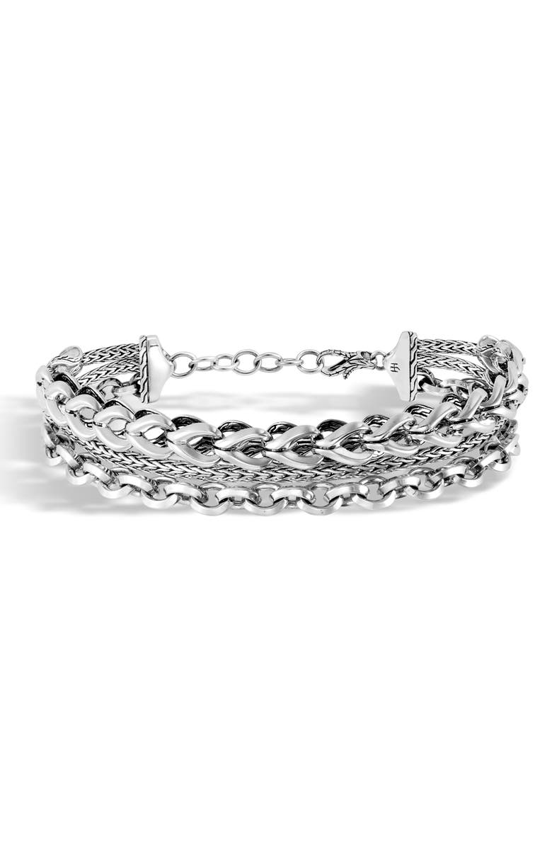 JOHN HARDY Asli Triple Row Chain Cuff, Main, color, SILVER