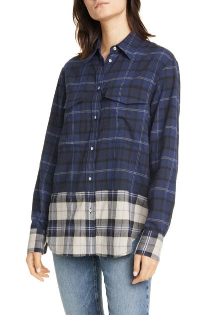 Rag & Bone T-shirts PLAID CONTRAST BUTTON-UP SHIRT