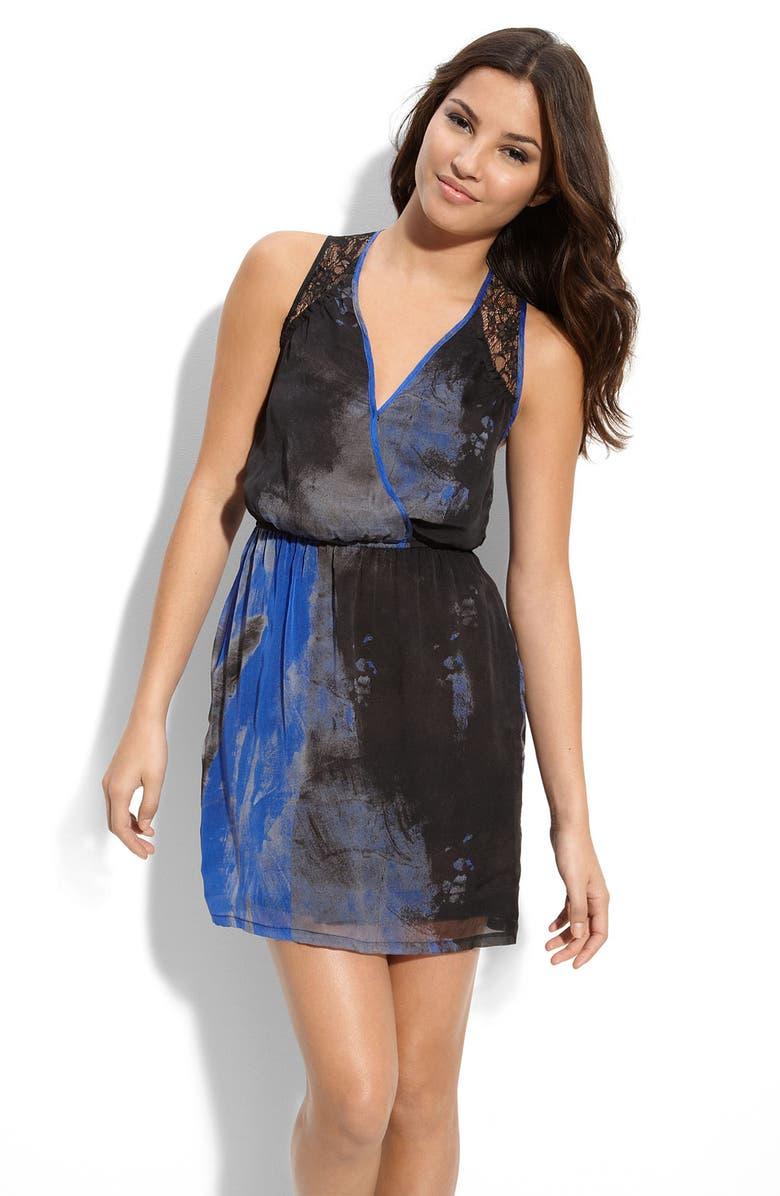 CHARLIE JADE 'Natalya' Abstract Print Silk Dress, Main, color, 436