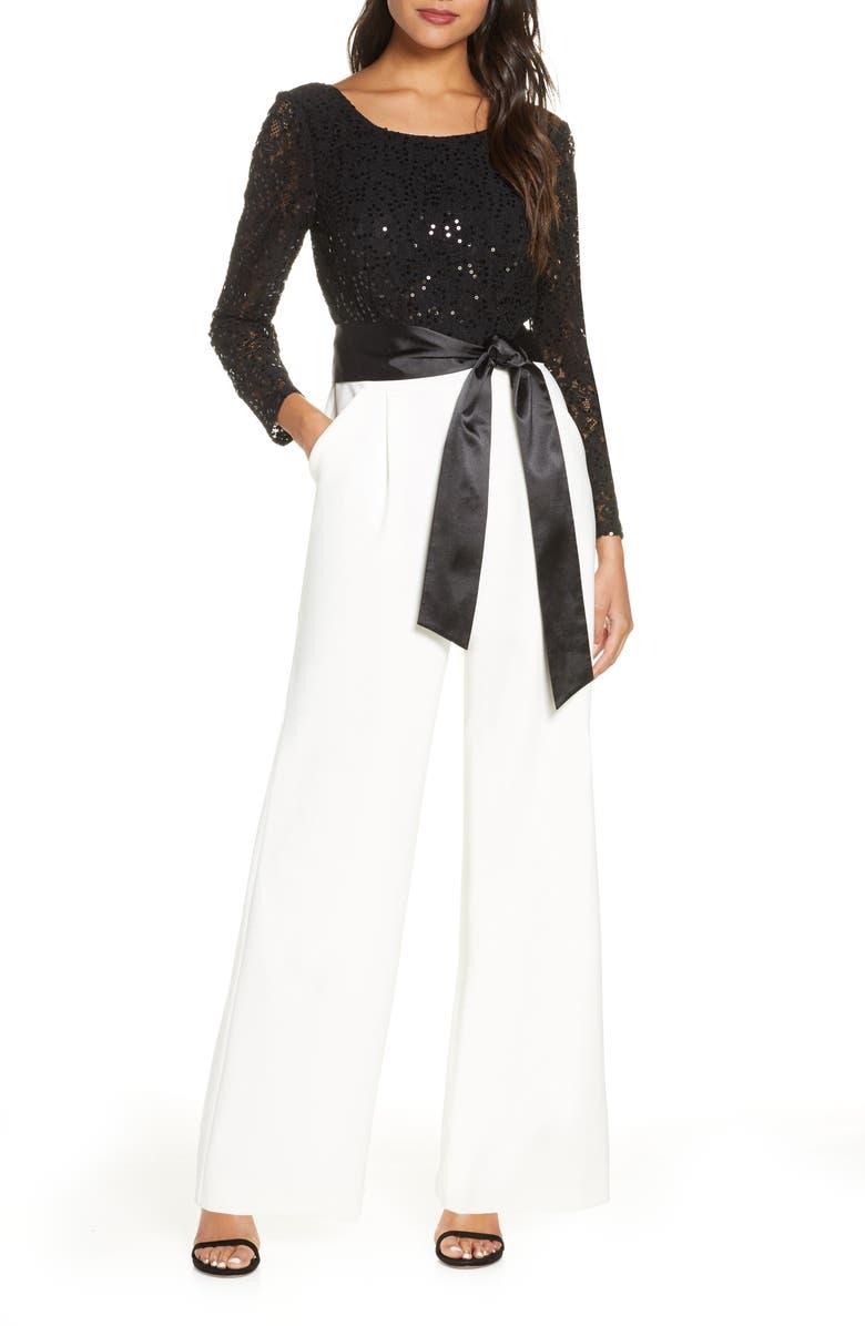 TAHARI Sequin Bodice Mix Media Long Sleeve Jumpsuit, Main, color, IVORY BLACK