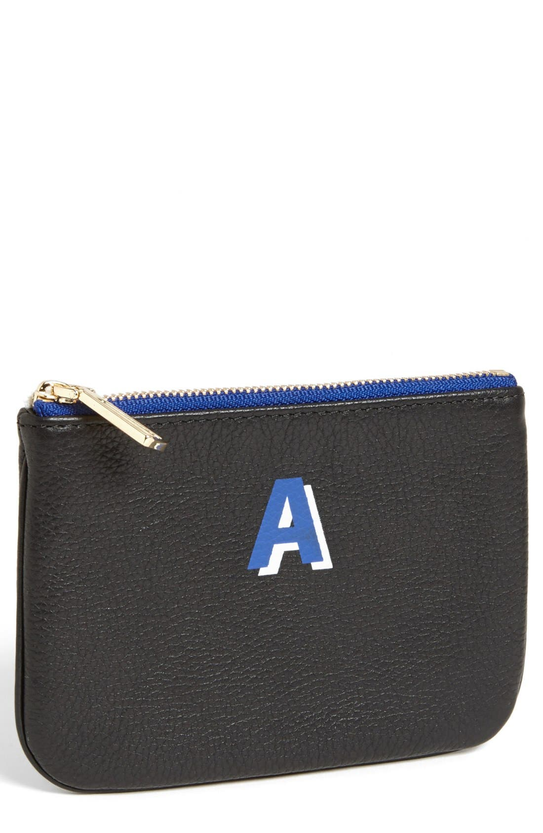 'Cory - A-Z' Leather Pouch, Main, color, 001