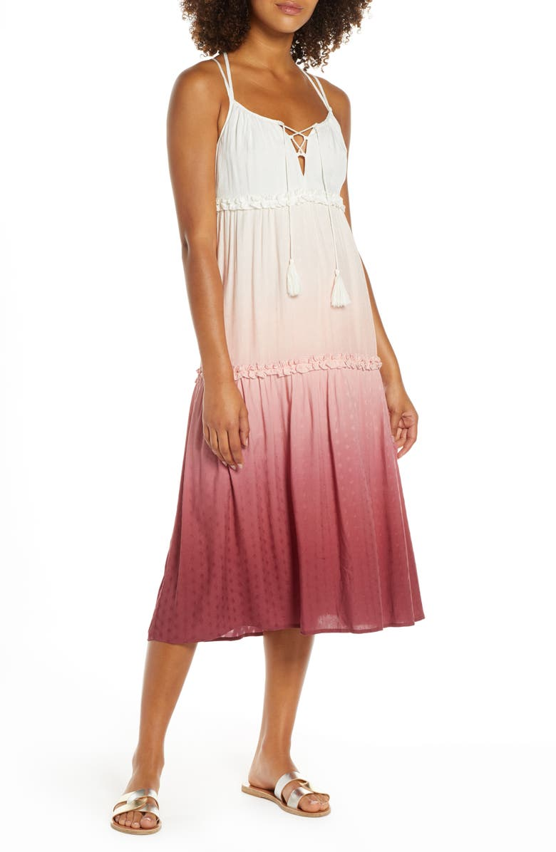 CHELSEA28 Carmelita Tiered Cover-Up Dress, Main, color, PINK BRICK OMBRE