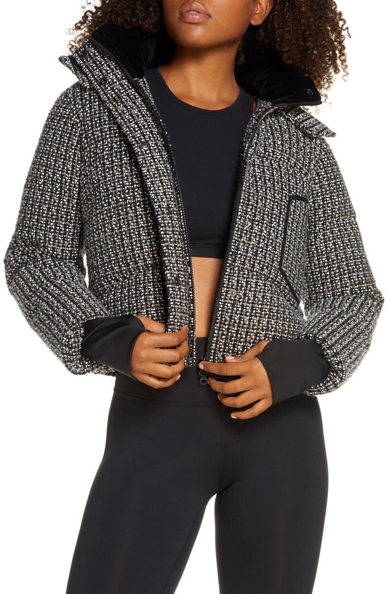 BLANC NOIR Crop Bouclé Puffer Jacket, Main, color, BLACK/ WHITE