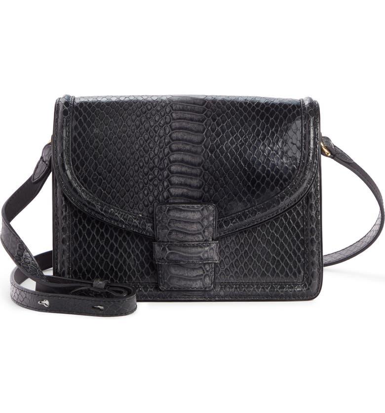 DRIES VAN NOTEN Croc Embossed Leather Shoulder Bag, Main, color, BLACK