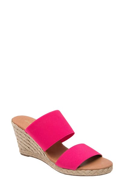 a76e04b040c Amalia Strappy Espadrille Wedge Slide Sandal in Neon Pink Fabric