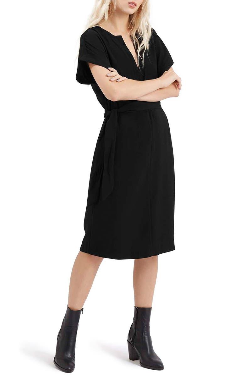 TOPSHOP Belted A-Line Dress, Main, color, 001