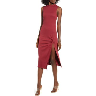 All In Favor Slit Sheath Dress, Red