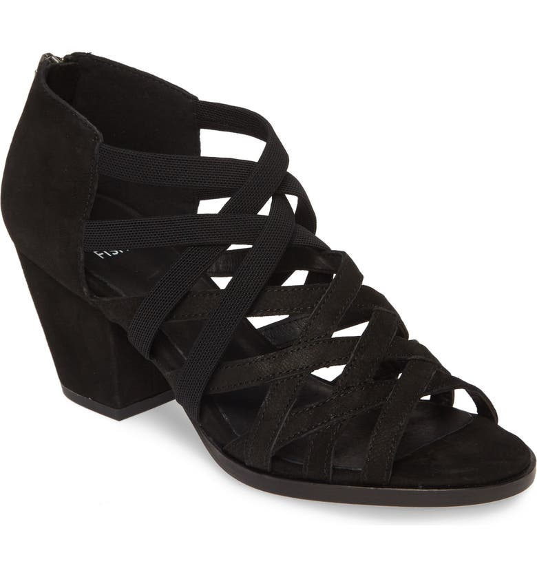 EILEEN FISHER Fara Cage Sandal, Main, color, BLACK NUBUCK LEATHER