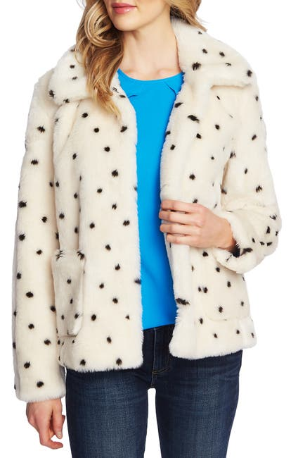 Image of CeCe by Cynthia Steffe Snow Leopard Print Faux Fur Coat