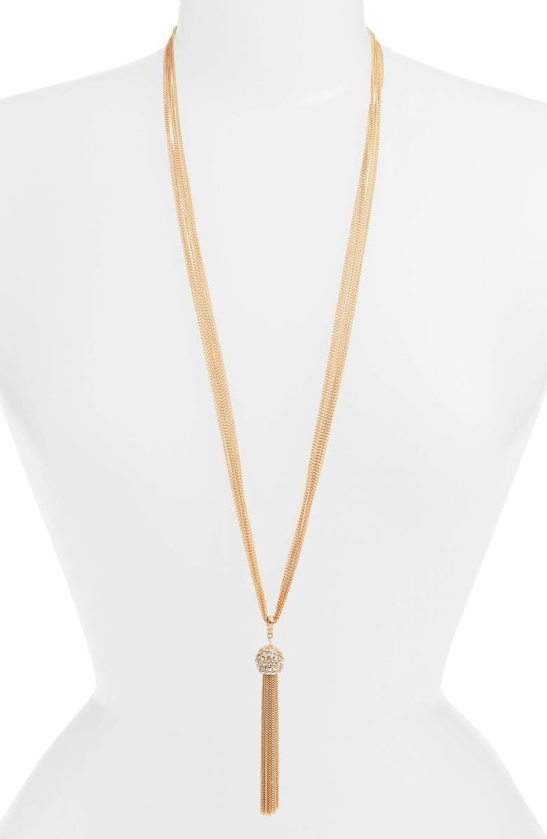 STELLA + RUBY Chain Tassel Y-Necklace, Main, color, 710