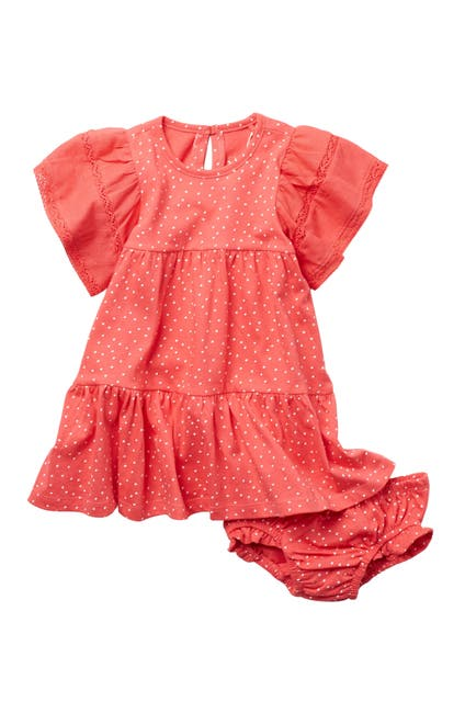 Image of Jessica Simpson Dot Print Ruffled Dress & Bloomers Set