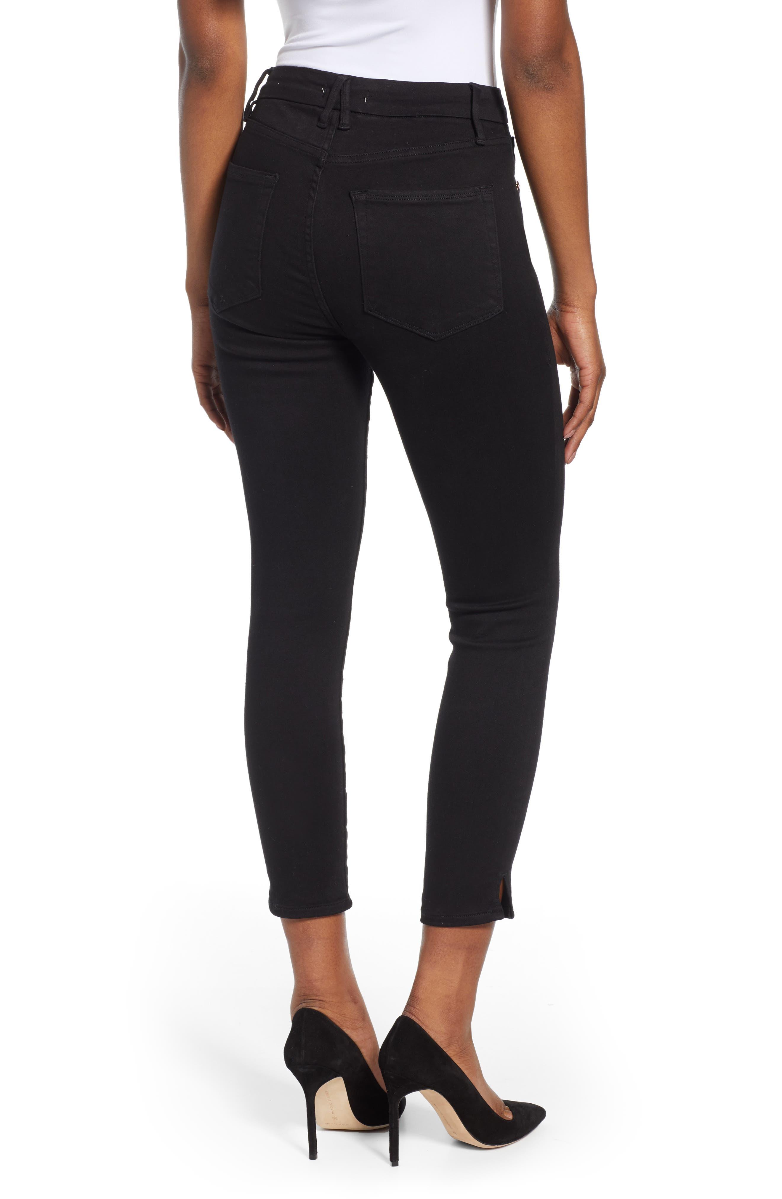,                             Good Legs Split Hem Ankle Skinny Jeans,                             Alternate thumbnail 2, color,                             BLACK001