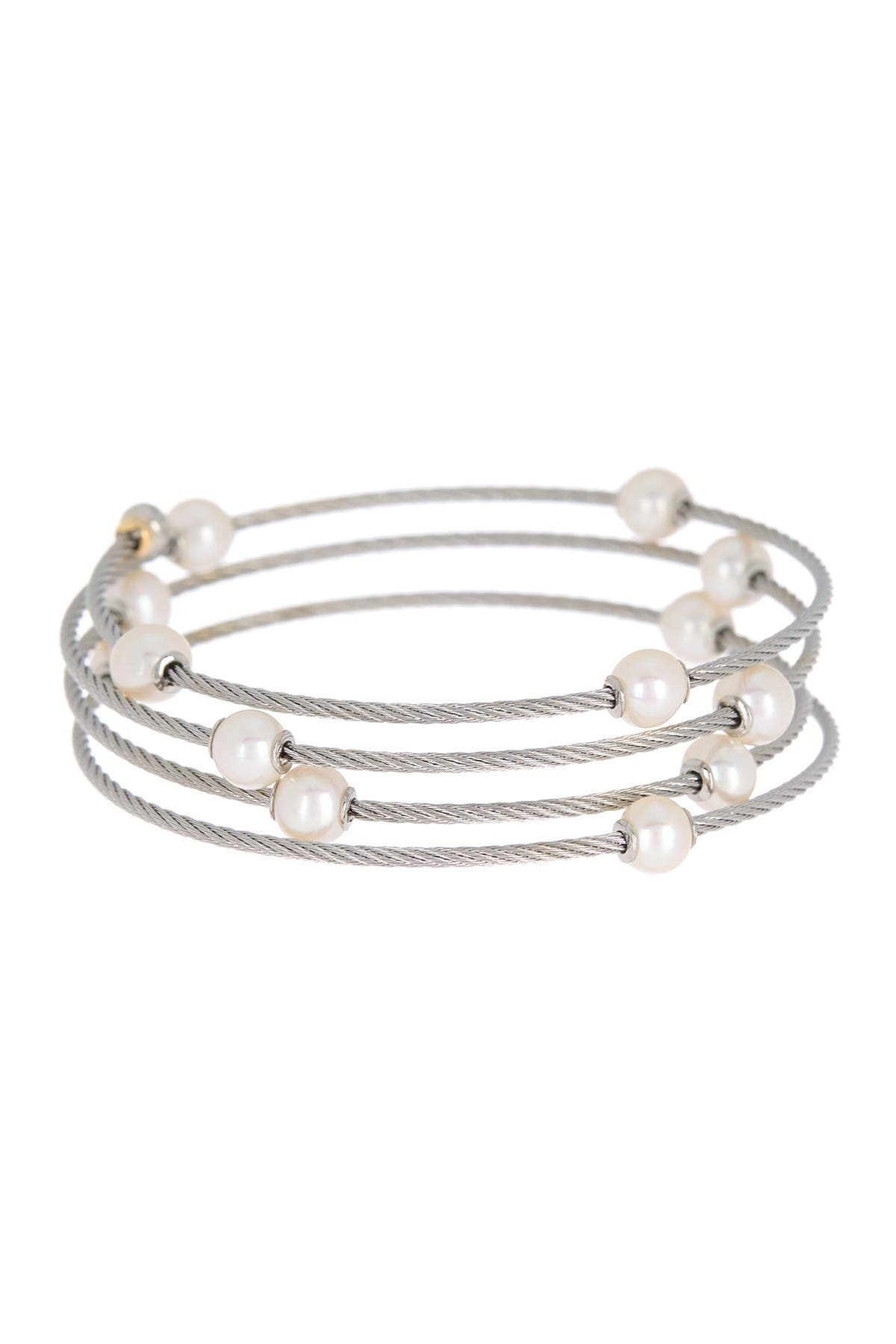 Image of ALOR 18K Yellow Gold & White Stainless Steel 6.3mm Freshwater Pearl Station Coil Wrap Bracelet