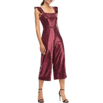 Gal Meets Glam Collection Casey Sequin Ruffle Strap Jumpsuit, Purple