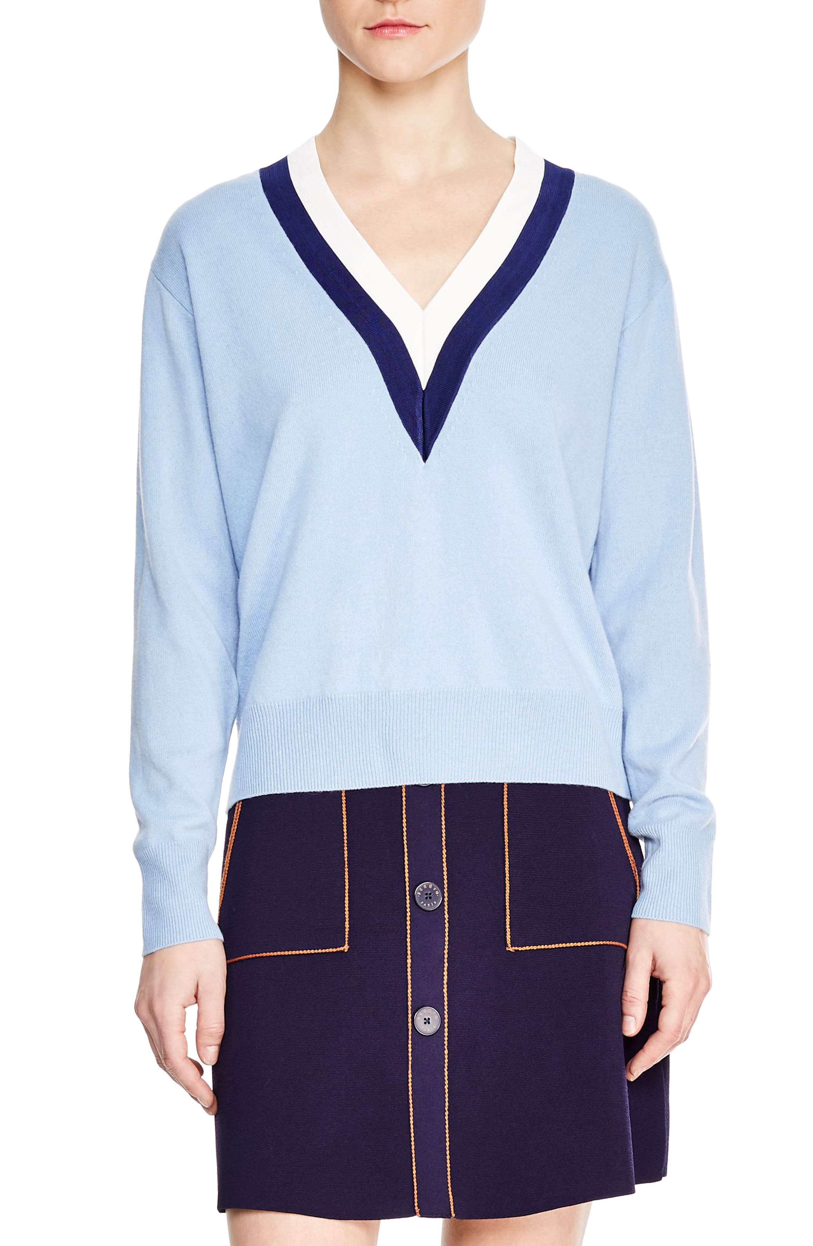 Sandro Nael Stripe Wool & Cashmere Sweater, Blue