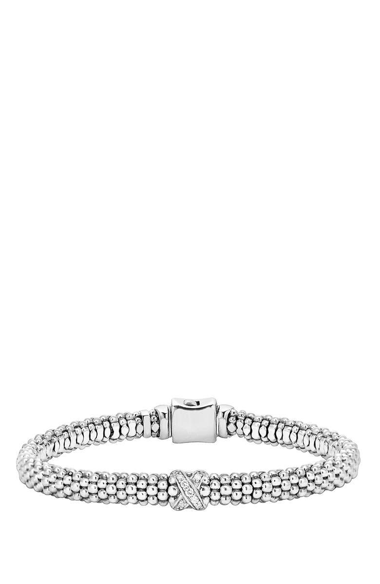 LAGOS Caviar 'Signature Caviar' Diamond Rope Bracelet, Main, color, STERLING SILVER