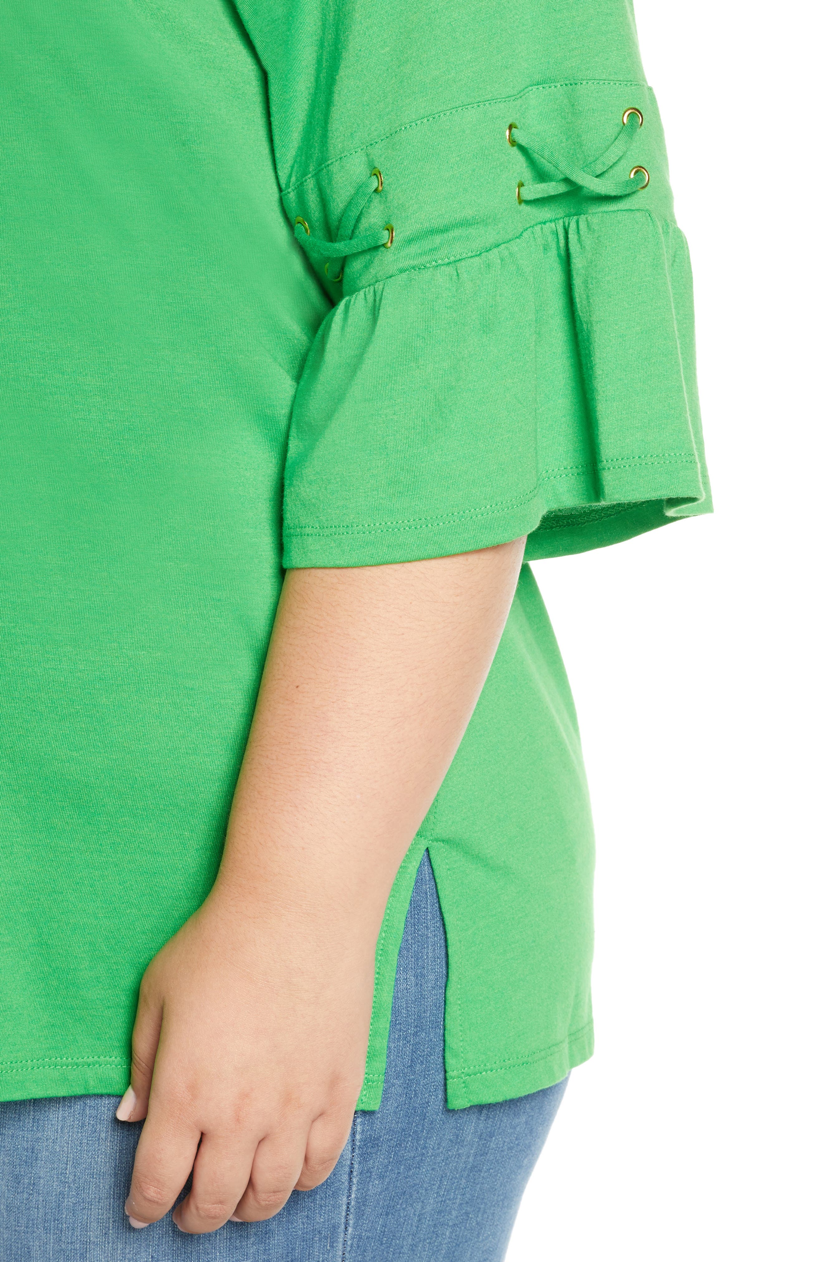 ,                             Lace-Up Sleeve Tee,                             Alternate thumbnail 4, color,                             CLOVER