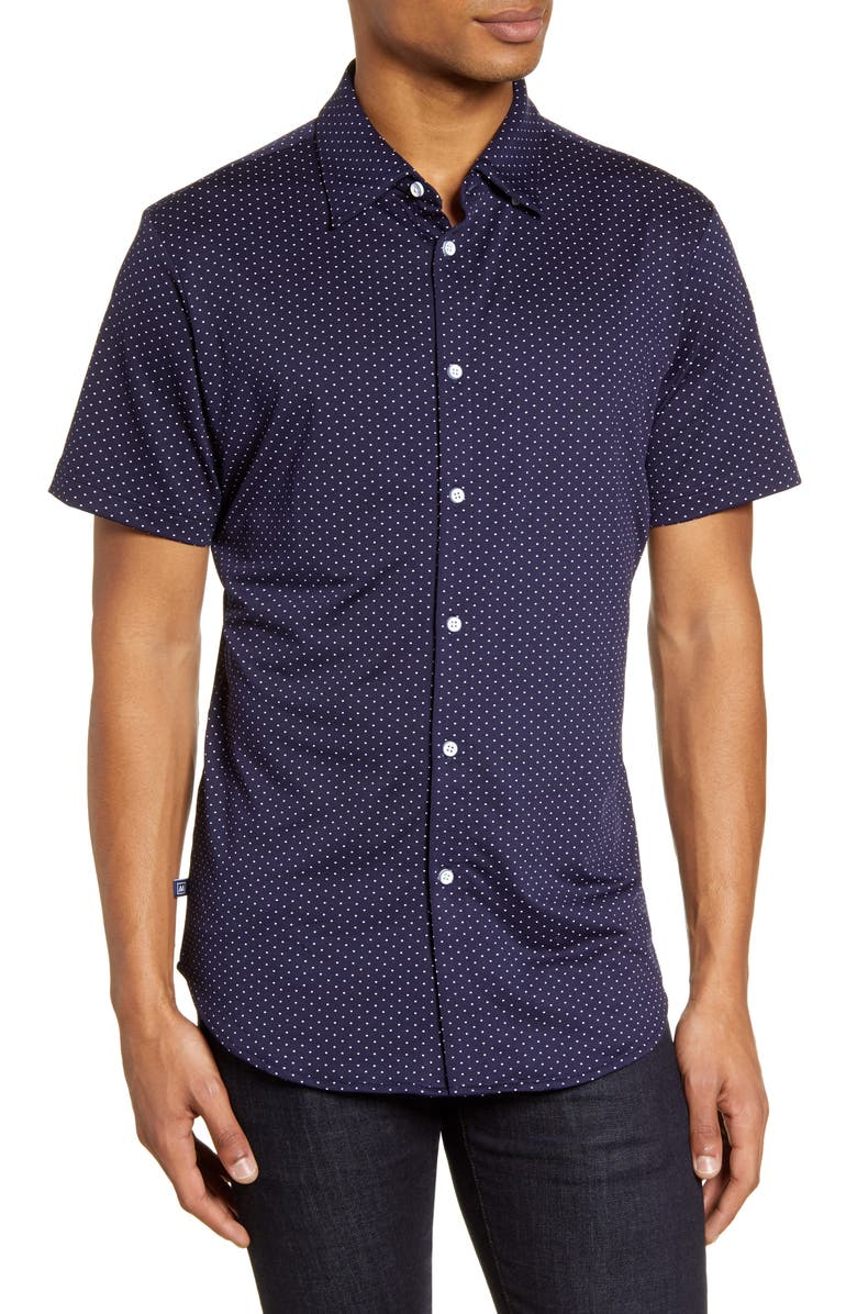 MIZZEN+MAIN Spinnaker Trim Fit Short Sleeve Button-Up Performance Shirt, Main, color, NAVY WHITE DOT PRINT