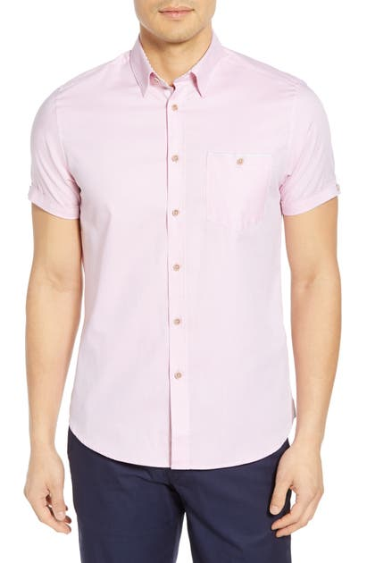 Ted Baker Wallabi Slim Fit Oxford Shirt In Pink