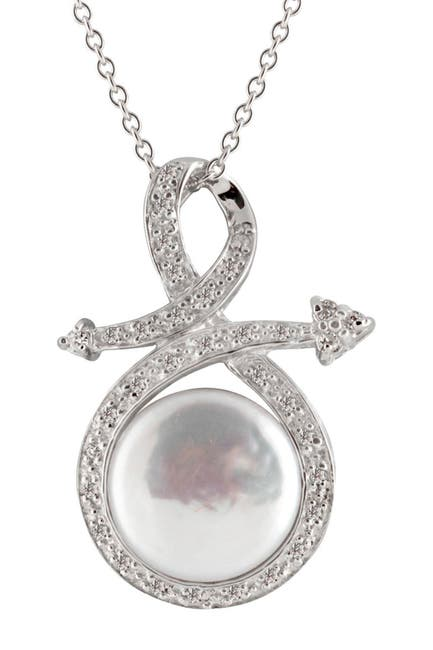 Image of Splendid Pearls 11-12mm White Coin Freshwater Pearl Pendant Necklace
