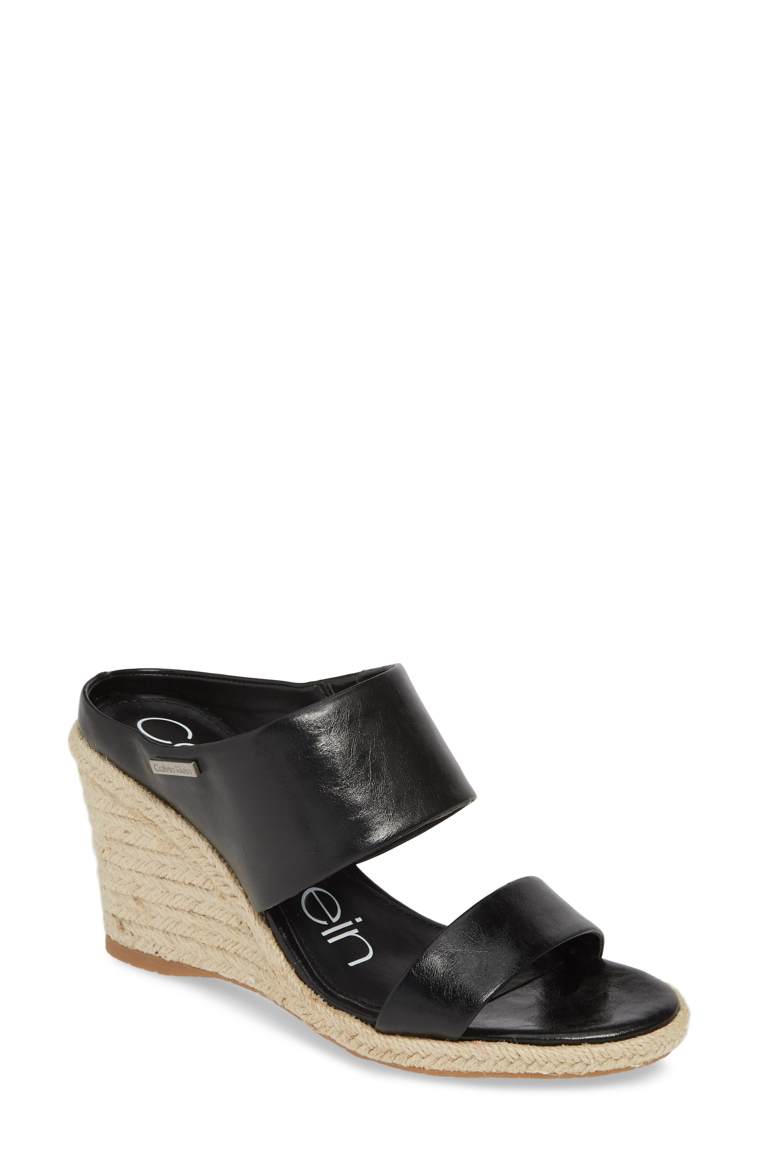 40a32d924d Calvin Klein Brooke Espadrille Wedge Sandal- Black