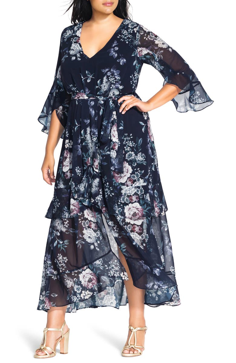 CITY CHIC Mysterious Garden Maxi Dress, Main, color, MYSTERIOUS GARDEN