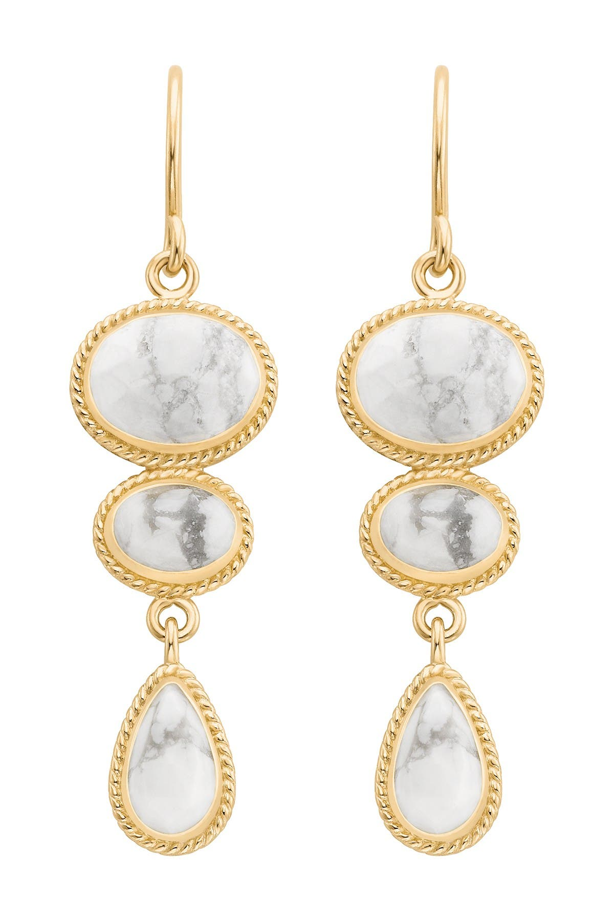 Image of Anna Beck 18K Gold Plated Sterling Silver Howlite Multi Stone Dangle Earrings
