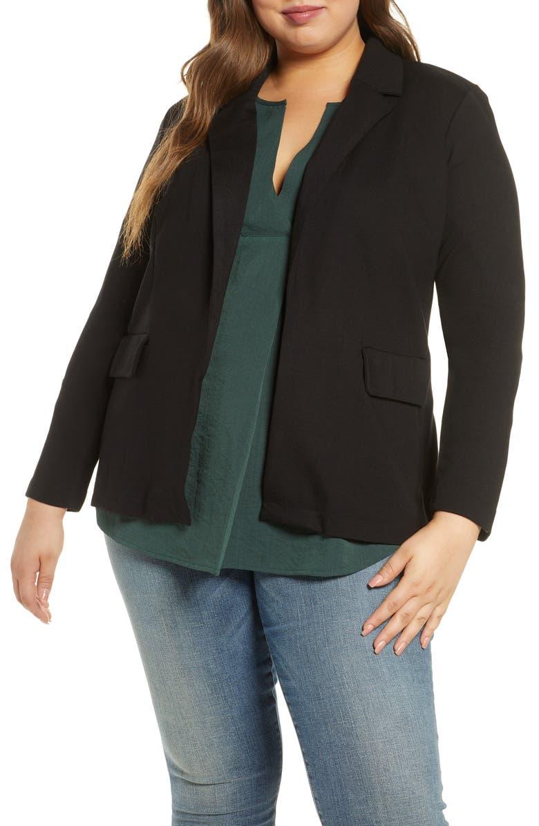 ELOQUII Jersey Blazer, Main, color, BLACK