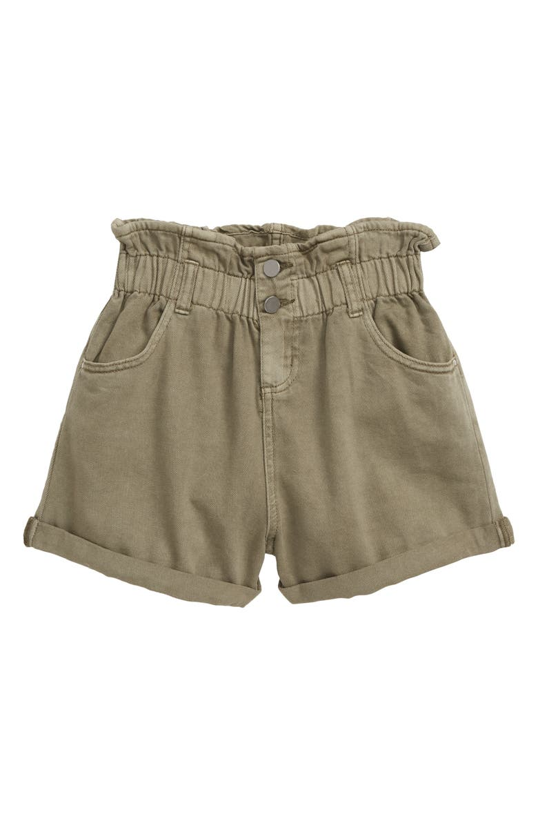 SEED HERITAGE Paperbag Waist Twill Shorts, Main, color, PALE KHAKI