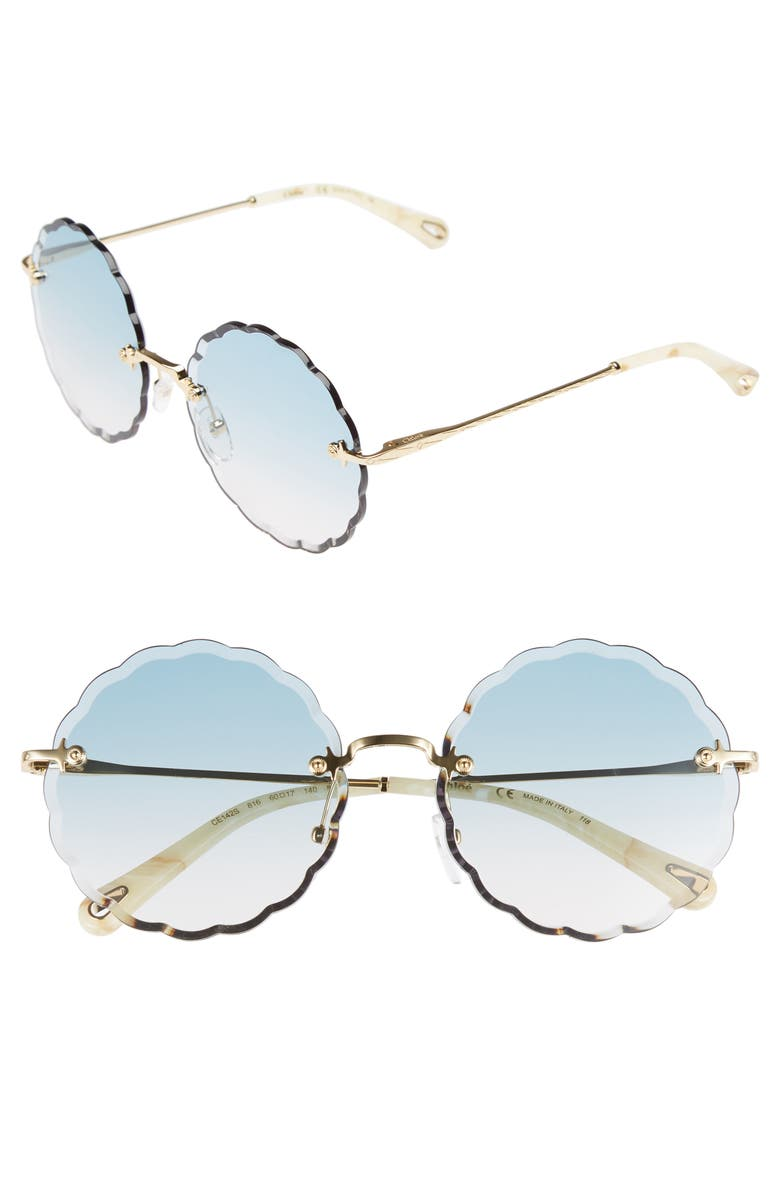 CHLOÉ Rosie 60mm Scalloped Rimless Sunglasses, Main, color, 710
