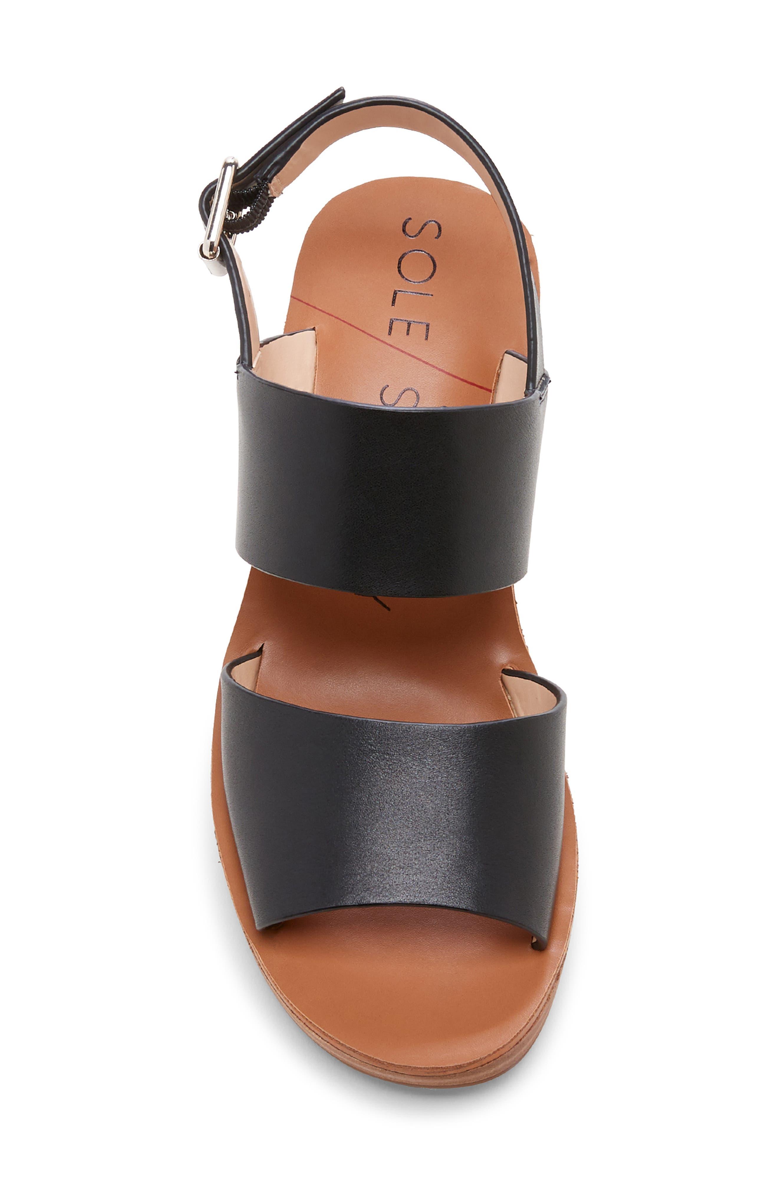 ,                             Pavlina Platform Wedge Sandal,                             Alternate thumbnail 5, color,                             BLACK LEATHER