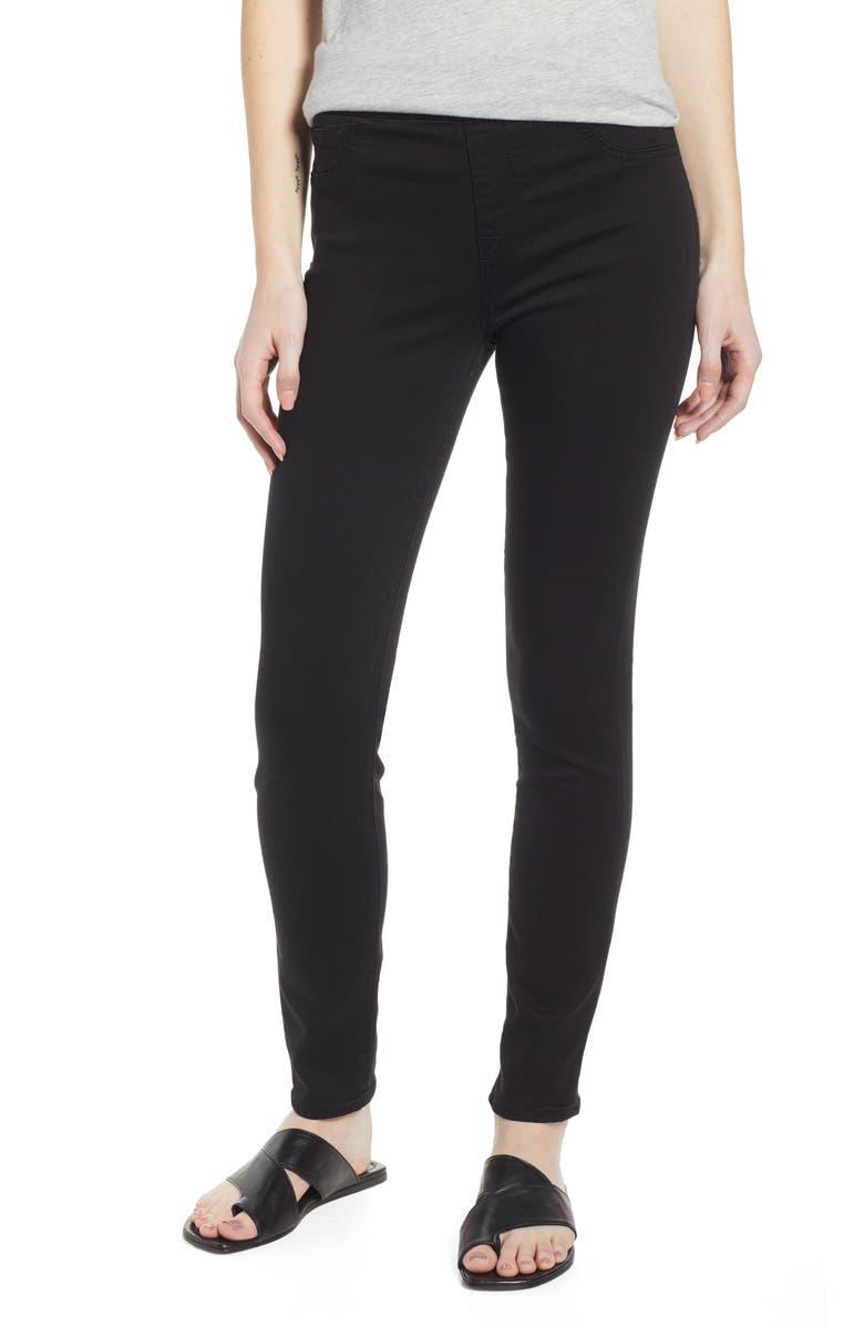 JEN7 BY 7 FOR ALL MANKIND Comfort Skinny Denim Leggings, Main, color, CLASSIC BLACK NOIR