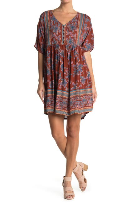 Image of Angie Button Front V-Neck Babydoll Dress