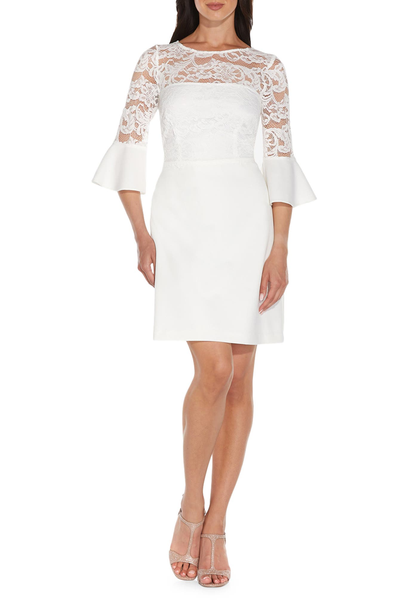 Bell Sleeve Lace & Crepe A-Line Dress