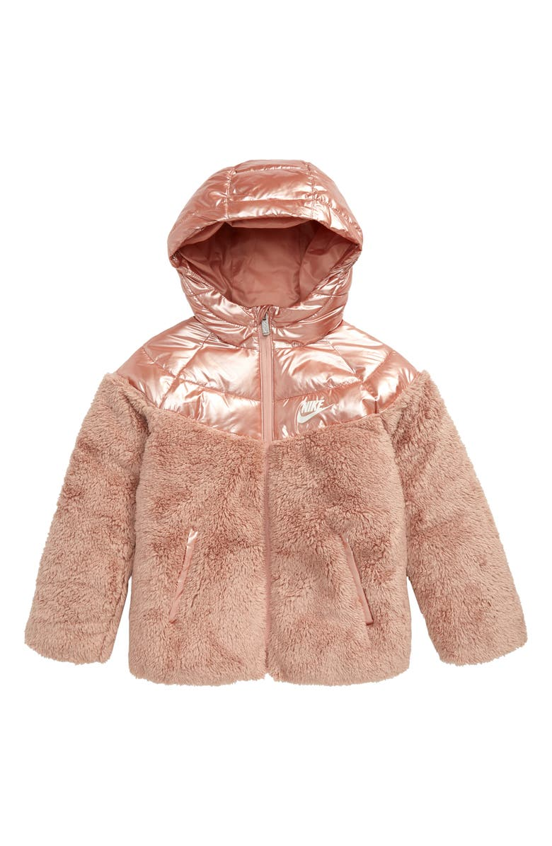 NIKE Sportswear Mixed Media Quilted High Pile Fleece Puffer Jacket, Main, color, 661