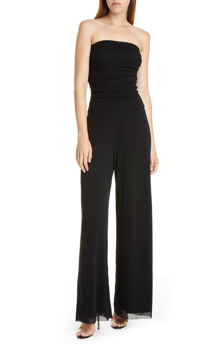 FUZZI Strapless Tulle Mesh Jumpsuit, Main, color, NERO
