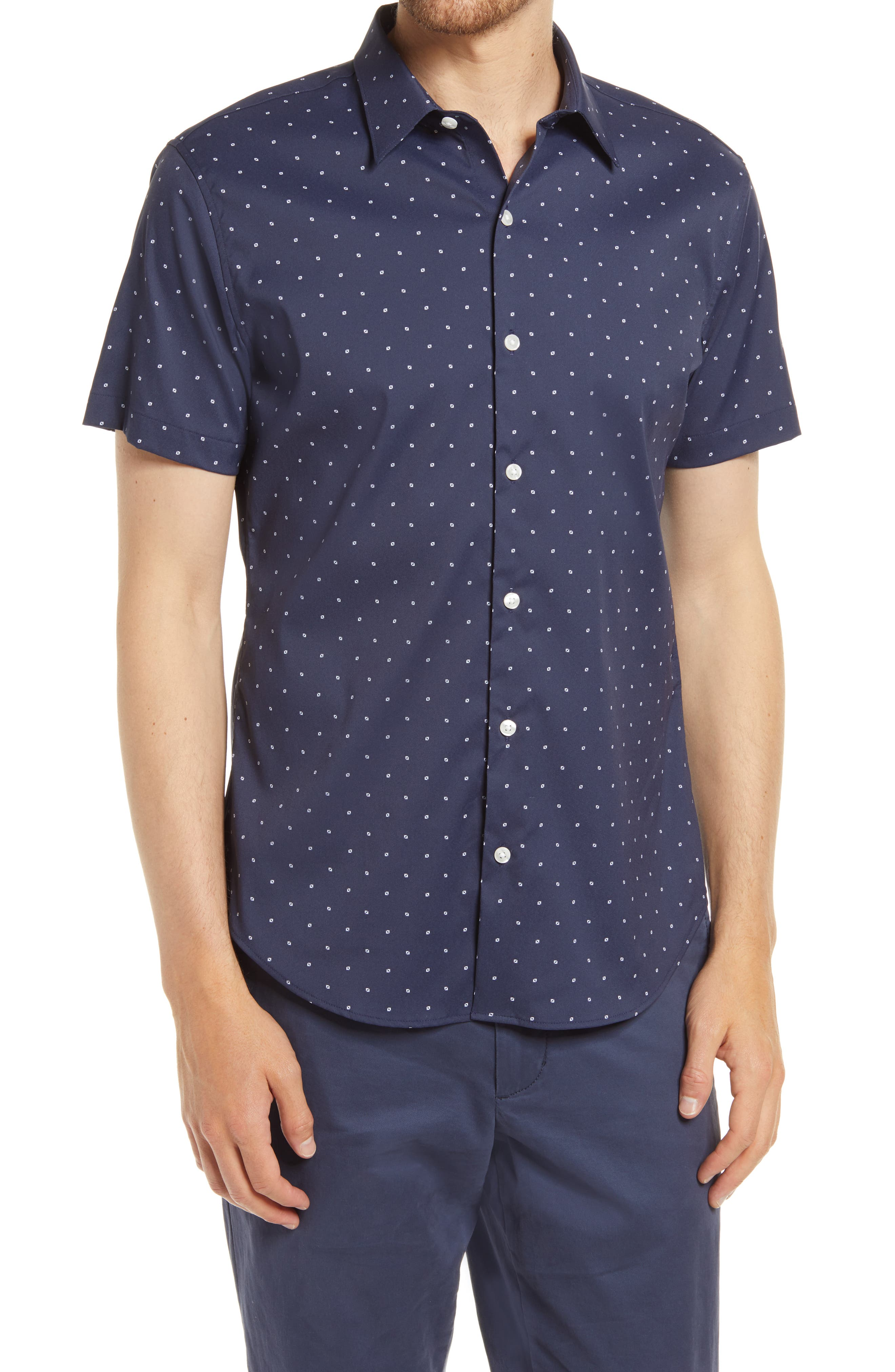 A smart, stretchy blend means flexible comfort in a modern shirt patterned in a crisp dot grid. Style Name: Bonobos Tech Slim Fit Dot Short Sleeve Button-Up Shirt. Style Number: 6038034. Available in stores.