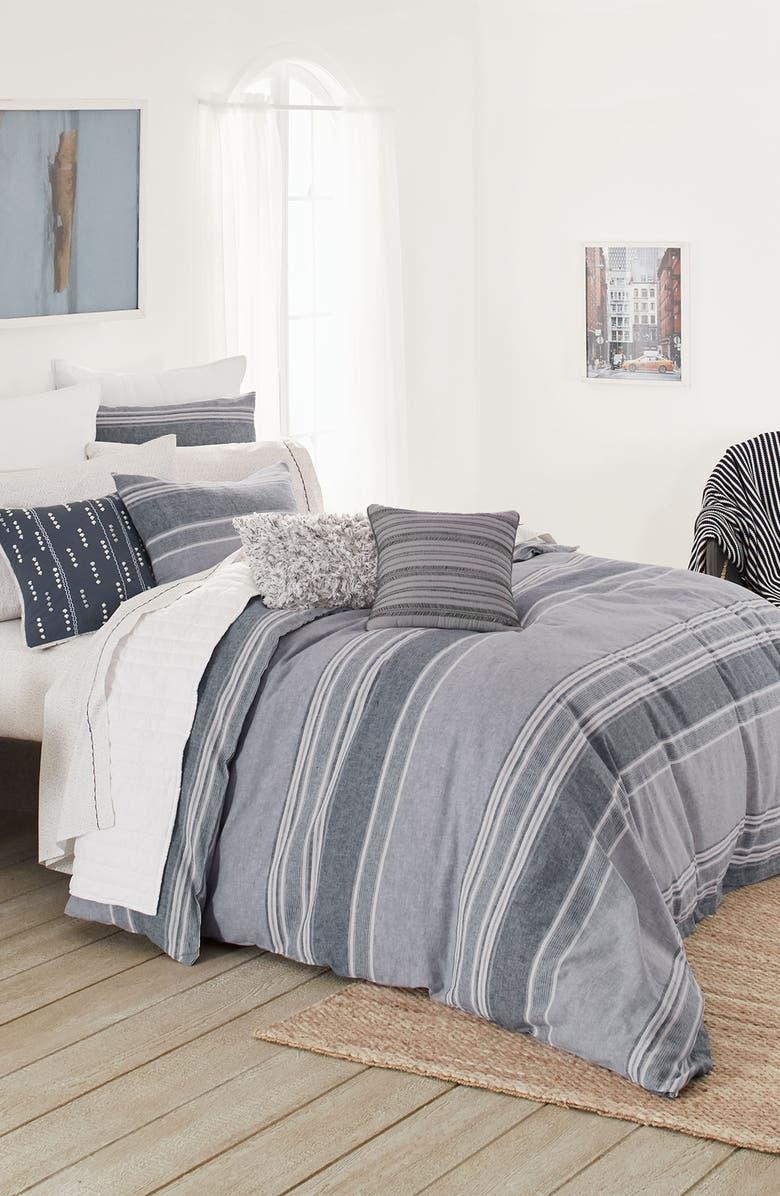 SPLENDID HOME DECOR Tuscan Stripe Comforter & Sham Set, Main, color, MOODY BLUE